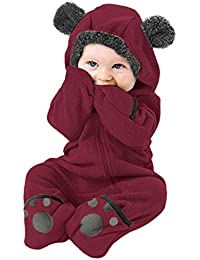 Body recién nacidoInfant Baby Girls Boys Solid Cartoon Fleece Ears Sudadera con Capucha Romper Clothes Jumpsuit