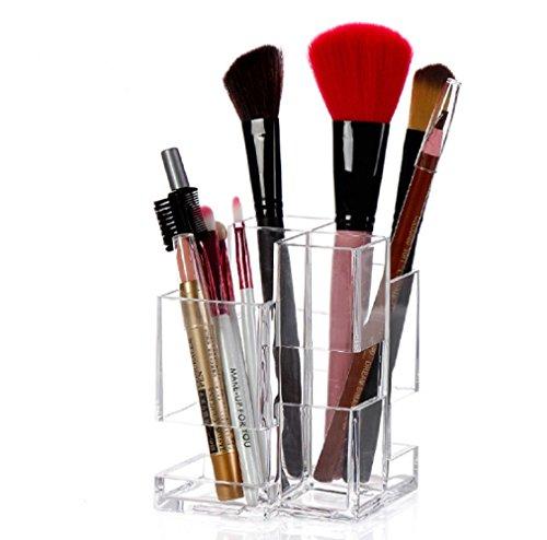 HQdeal Organisateur de Maquillage Acrylique Transparent Rangement pour Cosmétiques et Maquillages Pinceaux Support Présentoir de Rouge à Lèvres