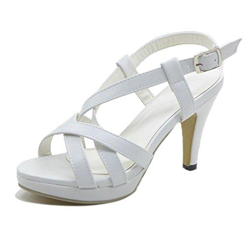 Mine Tom Mujer Chicas Verano Sandalias De Tacón Alto Sandalias De Gladiador Correas Cruzadas Peep Toe Zapatos Blanco 40