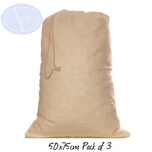 LOT de 3 – Sacs en COTON naturel à cordon coulissant issus du COMMERCE EQUITABLE. Taille: 50 x 75cm (XL)
