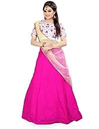 Shree Rang Creation Pink Taffeta Silk Embroidered Designer Lehenga Choli(AFL-12_Pink_Free Size)