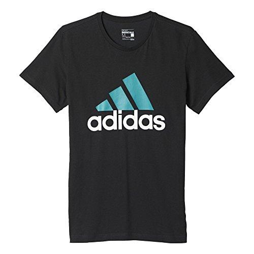 adidas Herren T-Shirt Logo Tee1, Schwarz/Türkis, M, 4056561978742