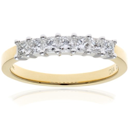 Naava Women's 18 ct Yellow Gold Four Claw J/I Certified Princess Cut 0.50 ct Diamonds Eternity Ring, Size P