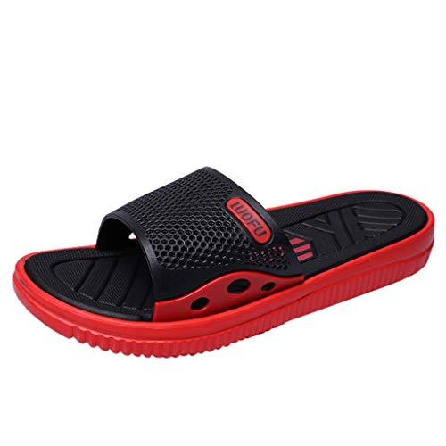 Skxinn Herren Badeschuhe Hausschuhe Slippers Sommer Slide Pantoletten Badelatschen Gartenschuhe Strand Indoor/Outdoor rutschfest Baden Gr 40-45(Rot,40 EU)