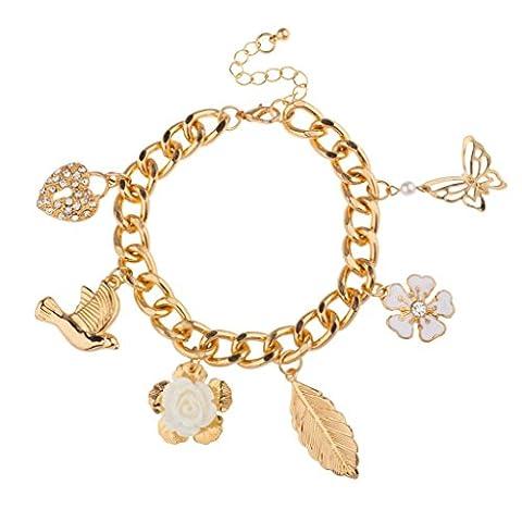 Lux Accessories - Taube Pave Herz Schloss Weiße Blume Rose Vogel Schmetterling Blatt Florales Bettelarmband