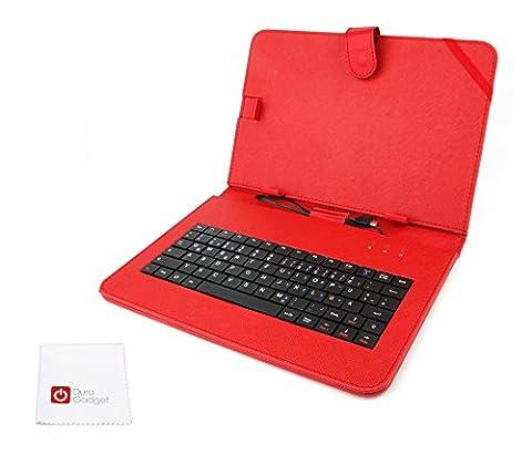 Deutsche QWERTZ-Tastatur in roter Schutzhülle für Odys Space 10 Plus