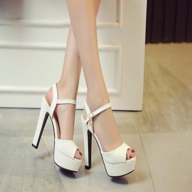 LvYuan Da donna Sandali Finta pelle PU (Poliuretano) Estate Autunno Footing Fibbia Quadrato Bianco Beige Viola Blu Rosa 12 cm e oltre White