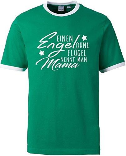 EZYshirt® Ein Engel ohne Flügel nennt man Mama Herren Rundhals Ringer T-Shirt (Herren Ringer T-shirt Schule)