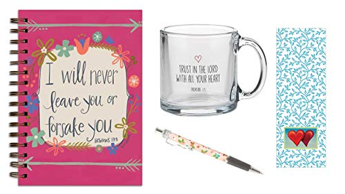 Trust in the Lord, Glasbecher, Never Leave Journal, rosa Tinte mit Lesezeichen