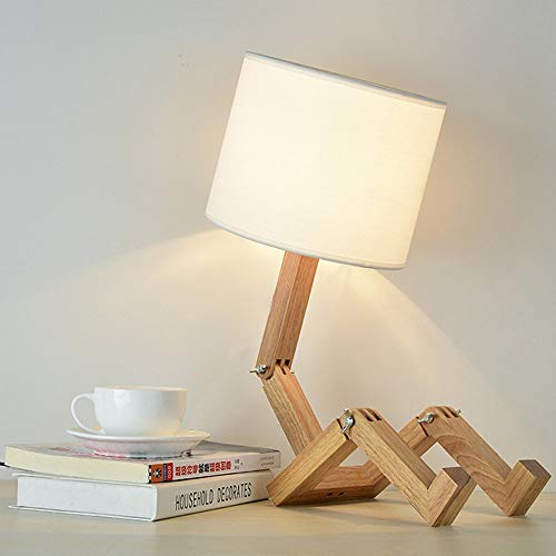 ELINKUME Robot Nachttischlampe, Stoff Lampenschirm passt