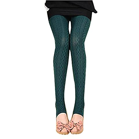 Binggong Damen Hosen, Frauen Winter Warme Mädchen Bequeme Baumwolle Strumpfhosen Hosen Gewindedrehung Leggings Steigbügel Hose (One Size, Navy)