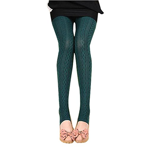 Binggong Damen Hosen, Frauen Winter Warme Mädchen Bequeme Baumwolle Strumpfhosen Hosen Gewindedrehung Leggings Steigbügel Hose (One Size, Navy) (Navy Strumpfhose)