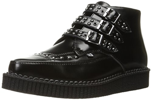 T.U.K. Shoes Men's 3 Buckle Black Leather Studded Pointed Creeper Boot Black