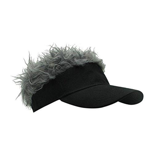 Wingbind Flair Hair Herren Visier Cap Hut Neuheit Blonde Haar Visor Baseball Cap mit Lustige Kunsthaar