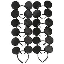 Tumao Diadema de Orejas, 12 Pack Fajines de Disfraz de Sombrero Negro de Estilo Ratón