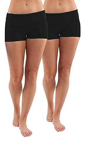 2x Hotpants Laufhose YOGA Schwarz shorts YOGA Boy Shorts badeshorts shorty,M