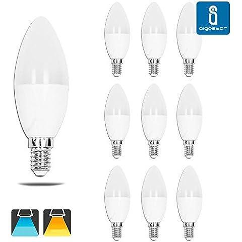 Aigostar 179076 - Pack de 10 Bombillas LED C37 vela, 7W, casquillo delgado E14, 490 lumen, luz blanca