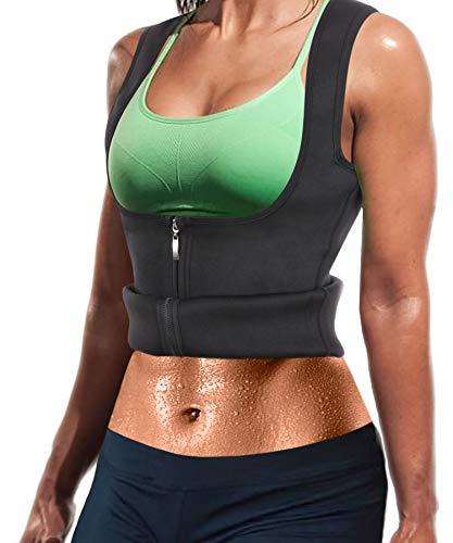 Damen Sport Latex Unterbrust Top formende Weste BauchWeg & Sauna Schwitzeffekt Taillerformer mit Träger & Reißverschluss Neopren Fitness Taillenmieder flexibel stark formend Body (Schwarz, 2XL)