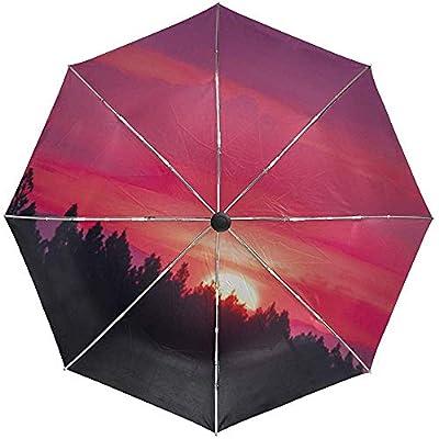Paraguas automático Sunset Sky Pink Travel Conveniente A Prueba de Viento Impermeable Plegable Auto Abrir Cerrar