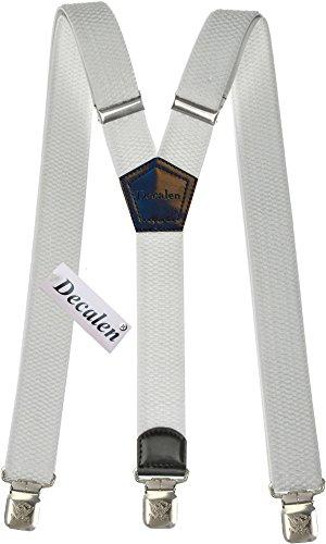 Hosenträger für Herren breit extra starken 4 cm mit 3er Clips Y-Form lange für Männer und Damen Hose alle Farben (Weiß)