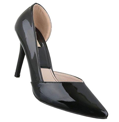 Damen Pumps Schuhe High-Heels Mules Pantoletten Sandaletten Stiletto Schwarz Beige 36 37 38 39 40 41 Schwarz