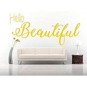 Hello Beautiful Zitat, Vinyl Wandkunst Aufkleber. Wandbild, Aufkleber. Zuhause, Wanddekor. Schlafzimmer, Badezimmer, Ankleidezimmer, Spiegel, Fenster, Auto