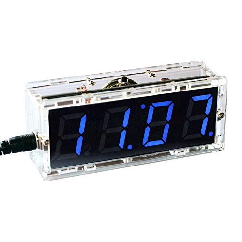 KKmoon Kompakte Digitale 4-stellige LED Talking Clock DIY Kit Licht Steuerung Temperatur Datum Zeit Transparent Vitrine(Blau)