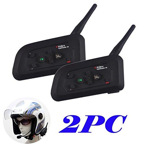 2× V4Bluetooth Gegensprechanlage für Motorrad Motorrad Helm Intercom Headset 1200M (intercomunicacion zwischen 4Motorradfahrer) - 1200 Portable Gps
