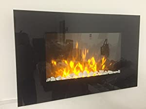 TruFlame 2018 LED Wall Mounted Flat Glass Electric Fire with Pebble Effect (90cm wide square corners)