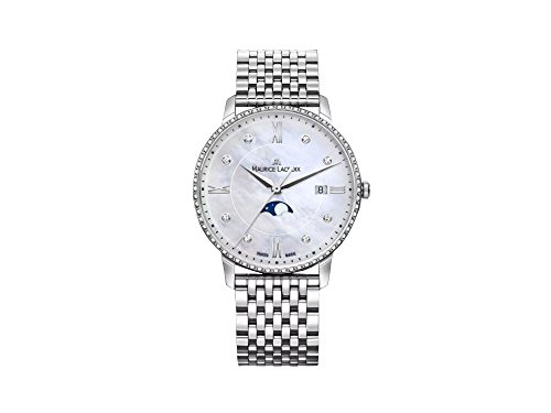 Maurice Lacroix Eliros Ladies Quartz Watch, White, 35 mm, Diamonds, Moonphase
