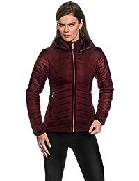 VB Taillierte Damen Steppjacke, Jacke mit Stehkragen, abnehmbarer Kapuze, Eingriffstaschen