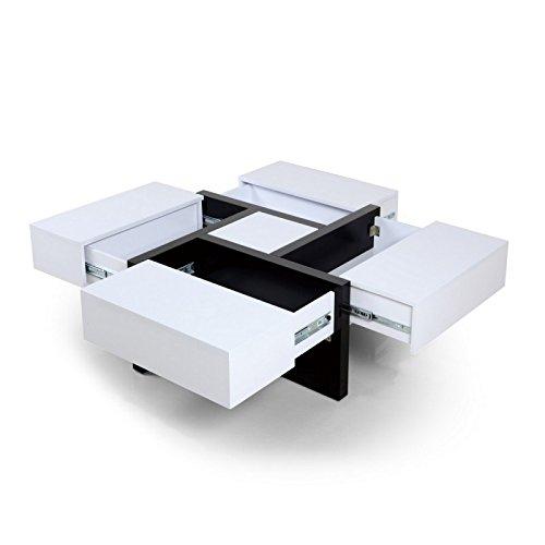 Beaux Meubles Pas Chers - Table Basse Carrée Design 4 Rangements Coulissants - Coloris - Blanc