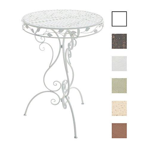 CLP Table de Café Ronde Aldora Ø 70 cm en Fer Forgé avec Hauteur 100 cm | Table d'Extérieur de Style Nostalgique Idéale pour la Terrasse | Table de Jardin de Différentes Couleurs au Choix Blanc