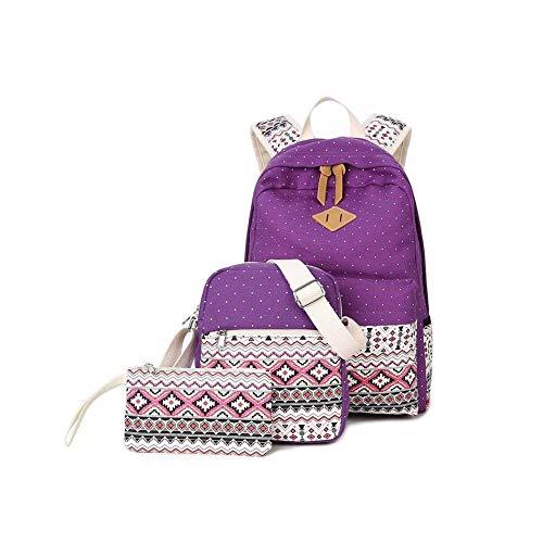 Pureed set di tela scolastica school girl boy teenager astuccio per scuola zaino per uomo moda uni signore zaino per ragazzo con daypack borsa per il tempo libero (color : violett, size : one size)
