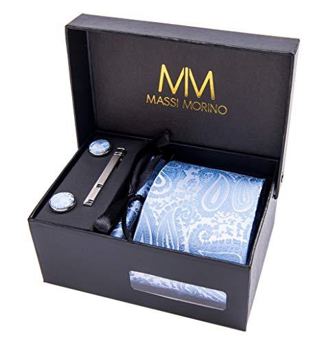 MASSI MORINO Paisley Krawatten - Box Set mit Einstecktuch, Manschettenknöpfe und Krawattennadel, handgenäht aus Mikrofaser Kunstseide in Bunten Paisleymuster, inkl. Geschenkbox (Hellblau)