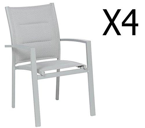 PEGANE Soldes Lot de 4 fauteuils de Jardin en Aluminium Coloris Silver Mat - Dim : L 62 x P 56 x H 90 cm
