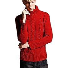 BOMOVO Jersey de Cuello Alto Suéter de Manga Larga Vestido del Hombre(blanco/rojo)