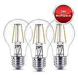 Philips LED Lampe E27 3er Multipack, ersetzt 40 Watt, 2700K warmweißes Licht, 470 Lumen, sehr niedriger Stromverbrauch, Retro Classic Design Glühbirne, Leuchtmittel mit sehr Lange Lebensdauer
