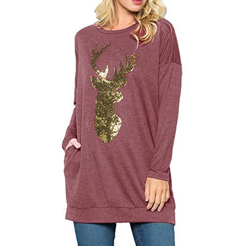 Geili Damen Weihnachten Pullover Christmas Elch Gedruckt Langarmshirt Sweatshirt Frauen Herbst...
