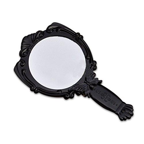 beIilan Tragbare Schmetterling Klappgriff Kosmetikspiegel mit runden Spiegel