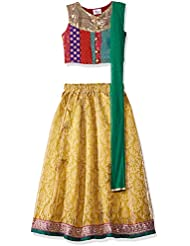 Elaisha Girls' Regular Fit Ghagra Choli (gold_Gold_2-3 years)