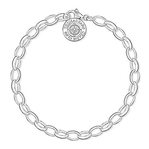 Thomas Sabo Damen-Armband Charm Club 925 Sterling Silber Diamant (Sterling Silber Diamant-medaillon)