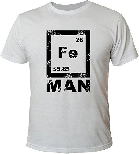 Mister Merchandise Witziges Herren Männer T-Shirt FE Man Iron Ironman Chemie Periodentafel Nerd , Größe: M, Farbe: Weiß (Weißes T-shirt Chemie)