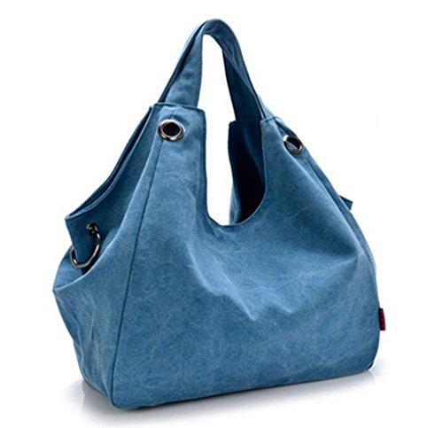 Tiny-Pure Color Damen Vintage Simple Stil Canvas Tote Handtasche Hobo Schultertasche Umhängetasche braun