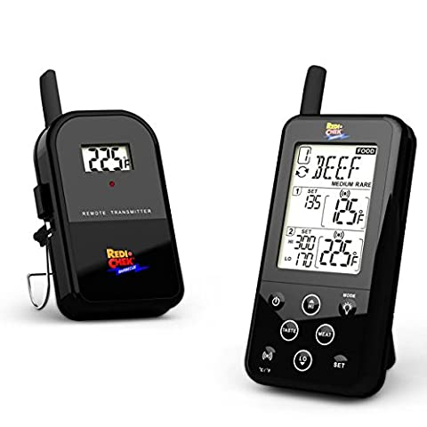 Maverick ET-733 Long Range Digital Wireless Meat Thermometer Set - Great for BBQ, Smoker, Grill, Food and Oven - Dual Probe and Dual Temperature Monitoring - NEWEST VERSION With a Larger Display and added Features - Black
