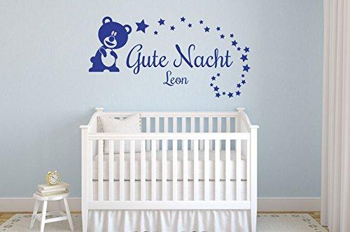 Wandtattoo Gute Nacht mit Wunschname Nr 2 Babyzimmer Kinderzimmer Aufkleber mit Wunschtext Größe 60x30, Farbe Silber