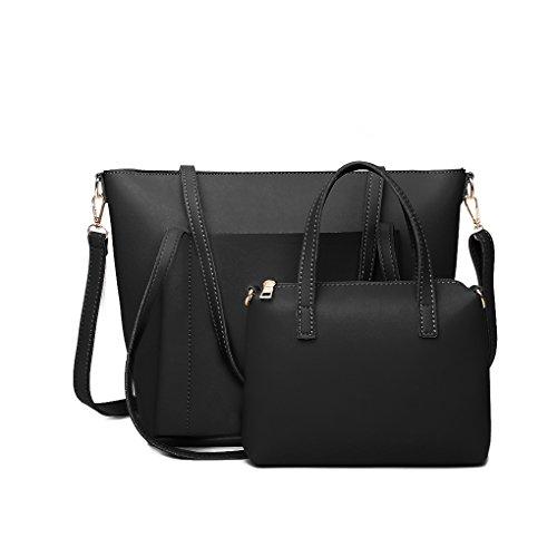 Miaomiaogo 2 Teile / satz Frauen Composite Tasche Fronttasche Tote mit Kleine Umhängetasche Pu-leder Crossbody Handtasche Set (Tote Zugriff)