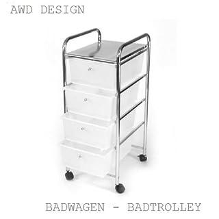Schöner Designer Badtrolley auf Rollen-Badregal-Badwagen-mit 4 ETAGEN-(Einschübe)Kunststoff weiß-AWD DESIGN-Messing Verchromt-Rostfrei-Maße:Größe: 33*39*79cm-AWD Design AWD02040017