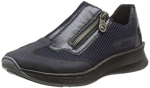 Rieker Damen N5653 Slip On Sneaker, Blau Pazifik/Navy 14, 41 EU