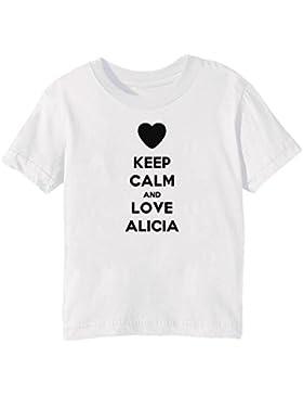 Keep Calm And Love Alicia Bambini Unisex Ragazzi Ragazze T-Shirt Maglietta Bianco Maniche Corte Tutti Dimensioni...